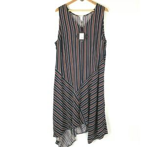 Ava & Viv 2X Stripe High Low Dress Midi Sleeveless